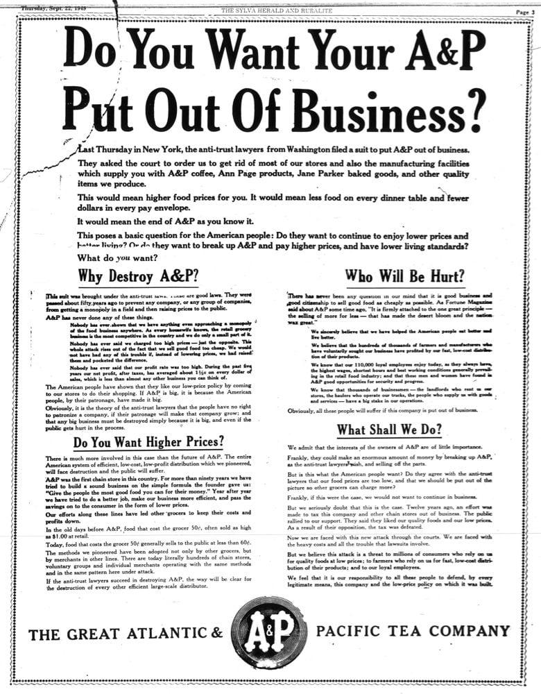 A&P ad