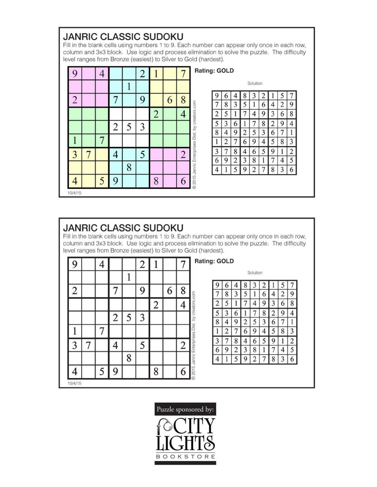Sudoku - Oct. 8, 2015