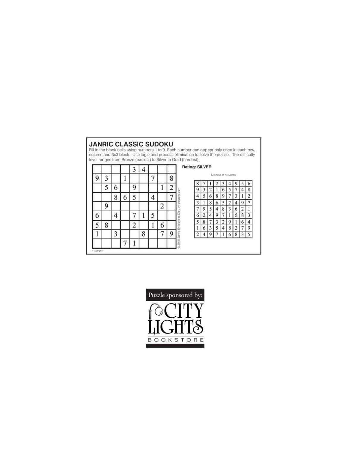 Sudoku - Dec. 31, 2015