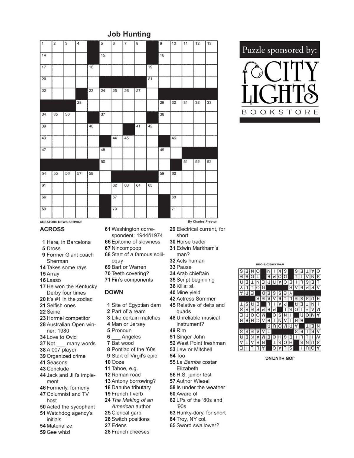 Crossword - Sept. 24, 2015
