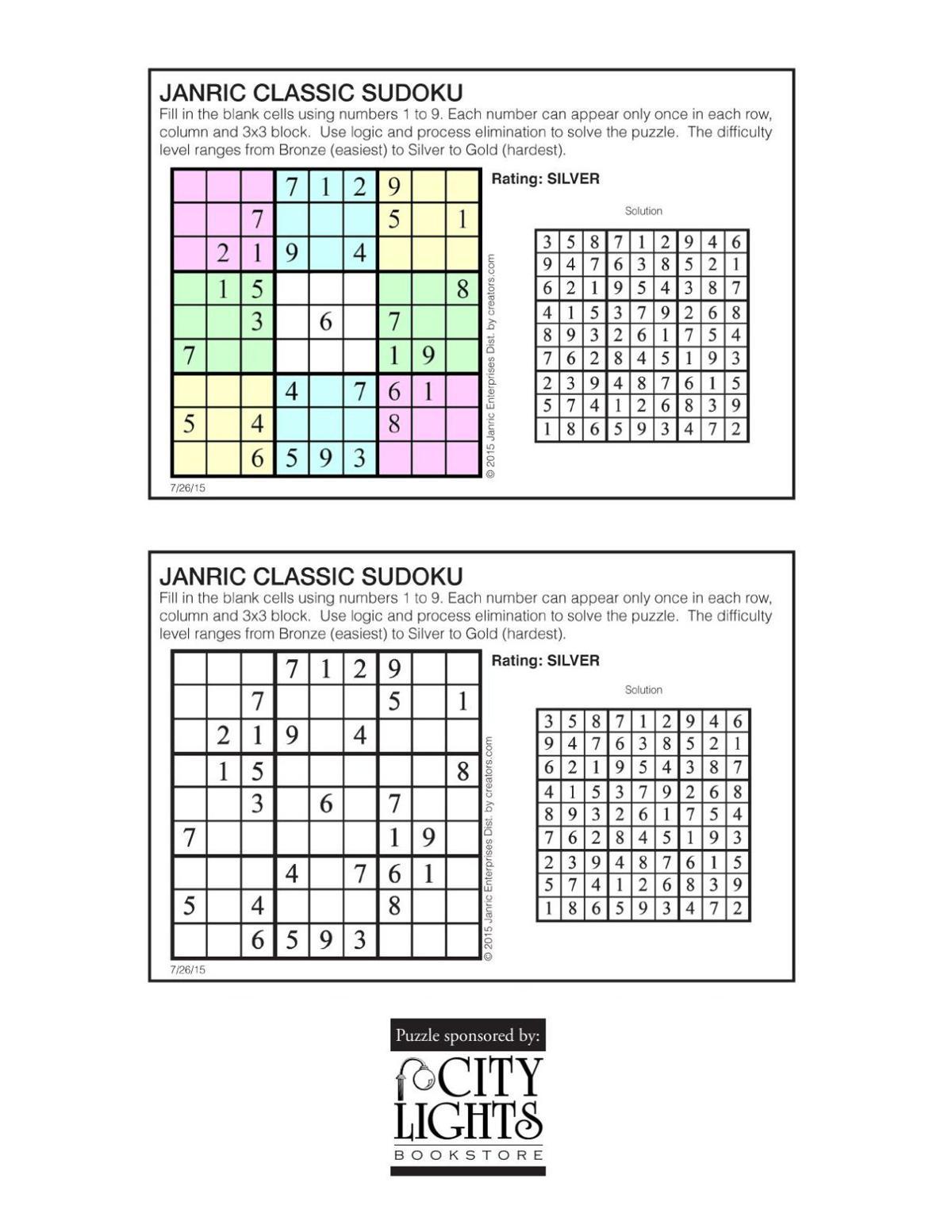 Sudoku - July 30, 2015
