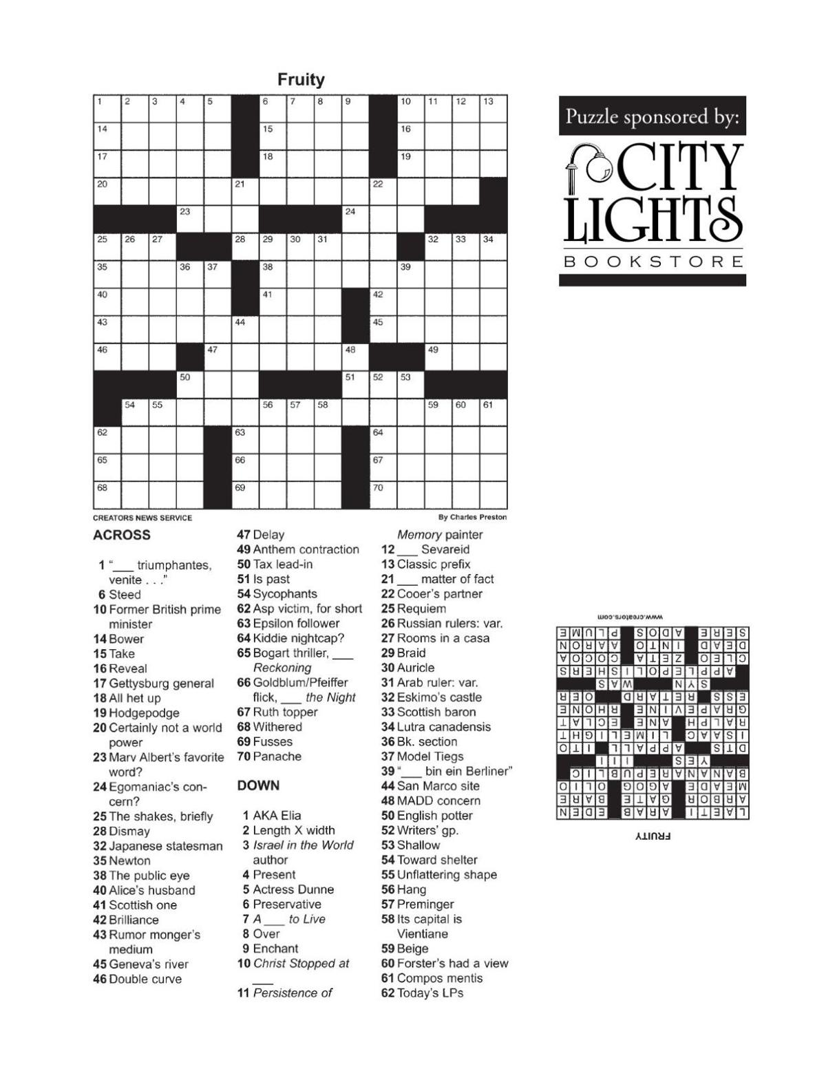 Crossword - Jan. 21, 2016