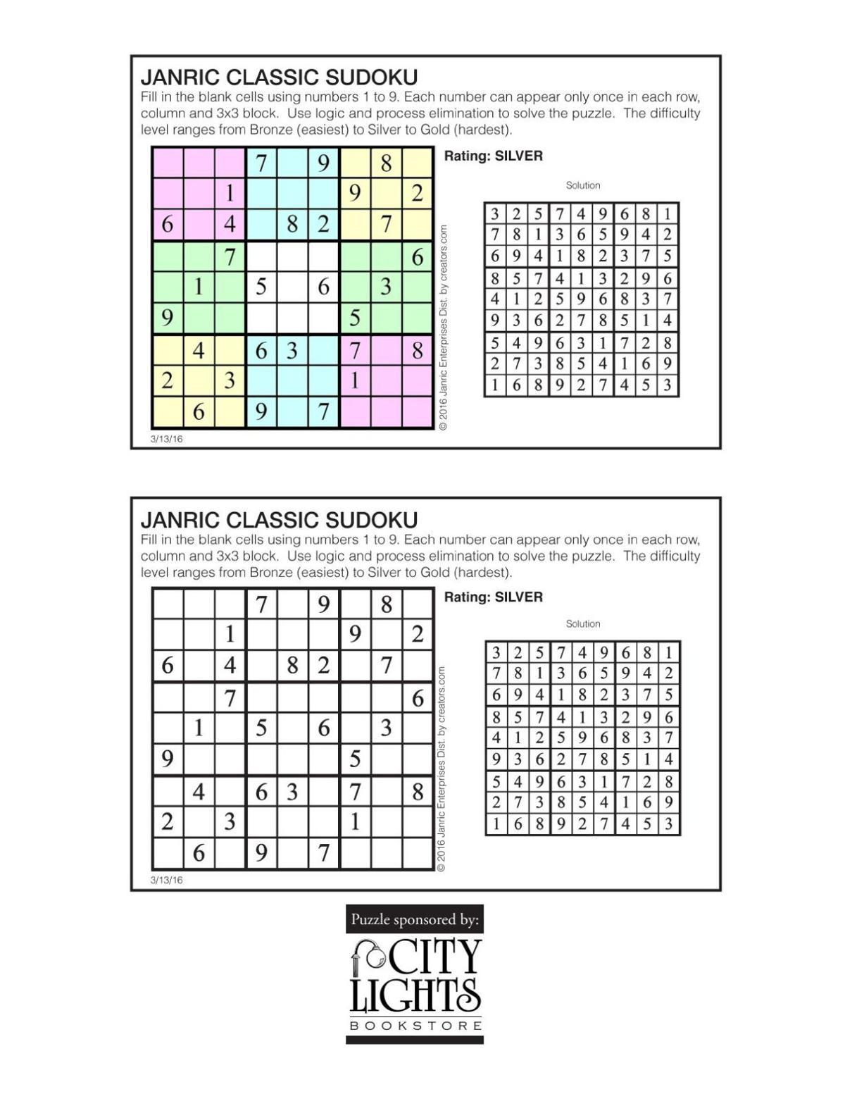 Sudoku - March 17, 2016
