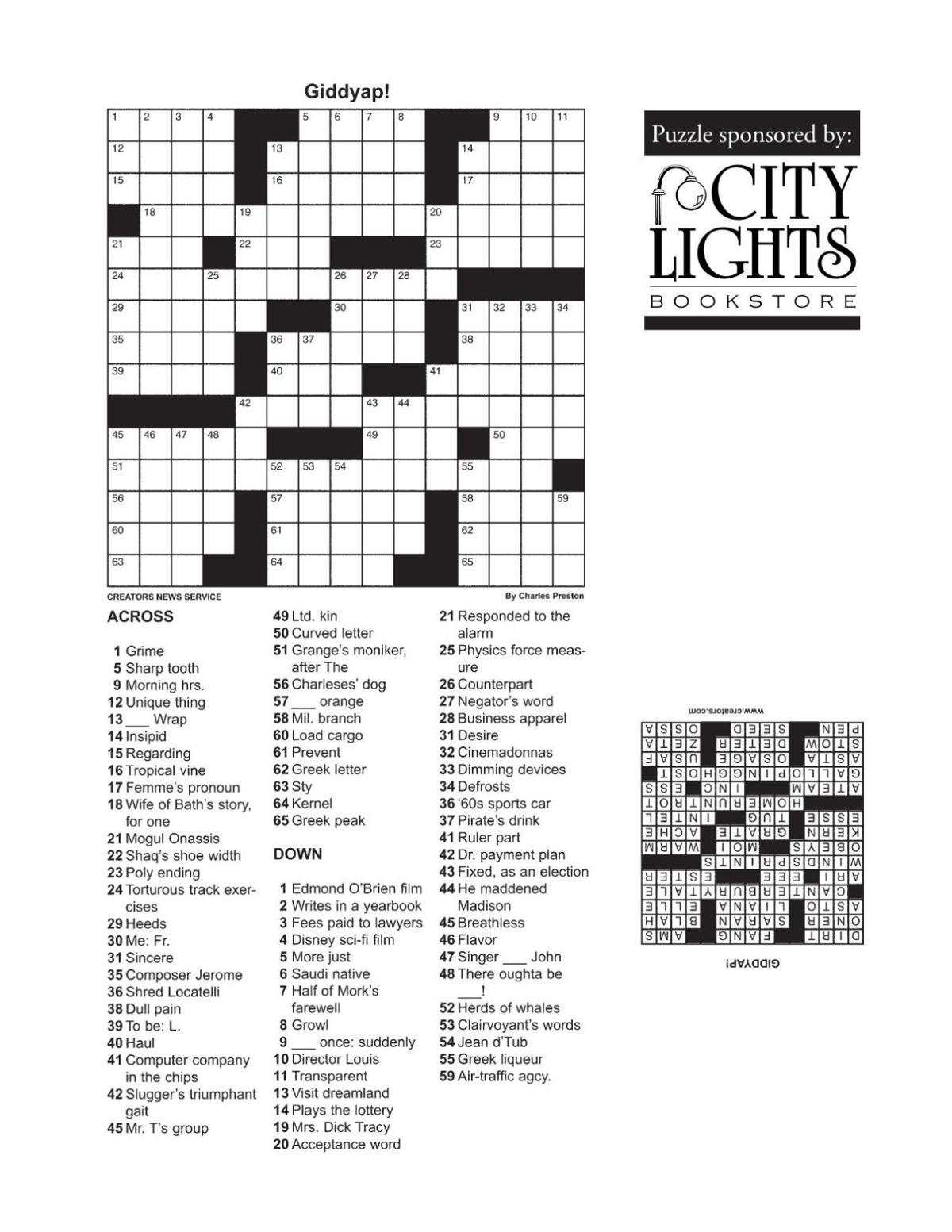 Crossword - Dec. 10, 2015