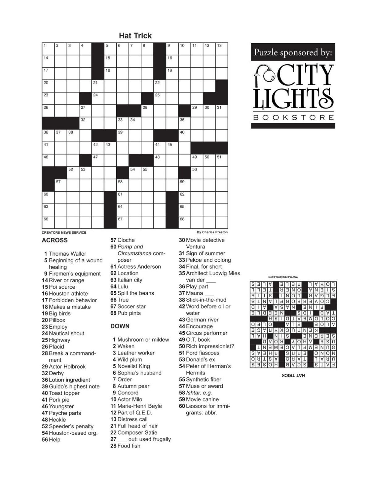 Crossword - Sept. 3, 2015