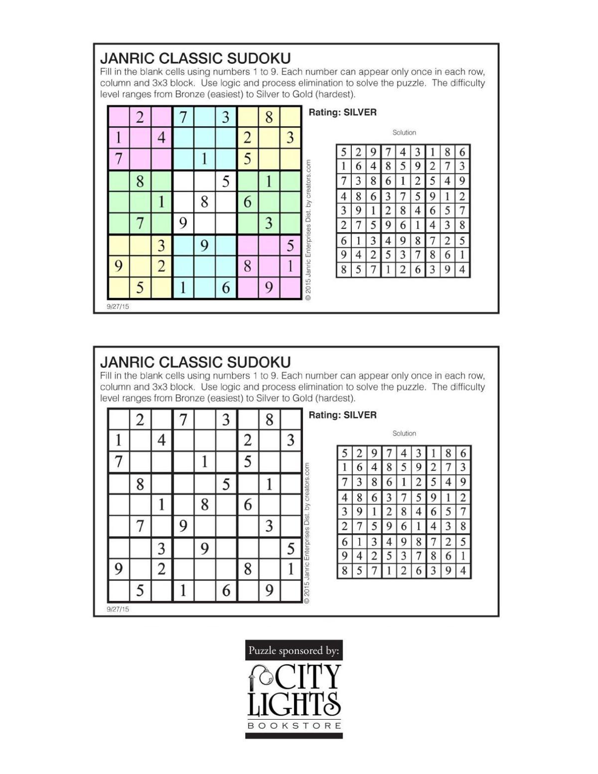 Sudoku - Oct. 1, 2015