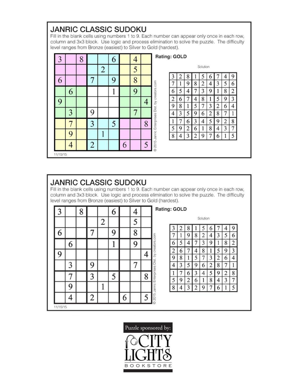 Sudoku - Nov. 19, 2015
