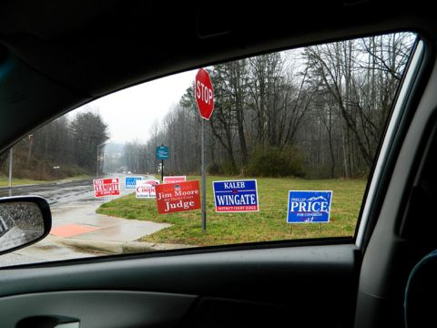 election signs from car window