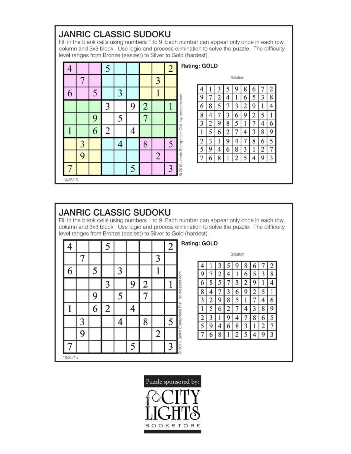 Sudoku - Oct. 29, 2015