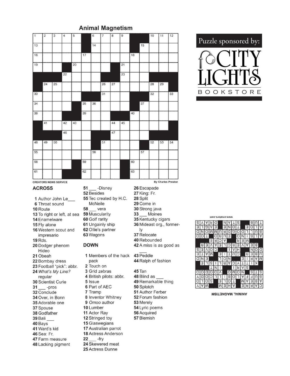 Crossword - Oct. 29, 2015