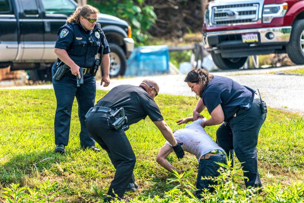 Suspect corralled after foot chase