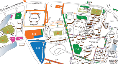 Map of parking on campus