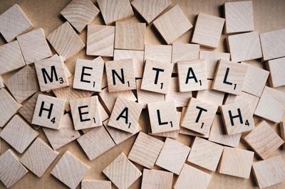 Scrabble letters spelling out mental health