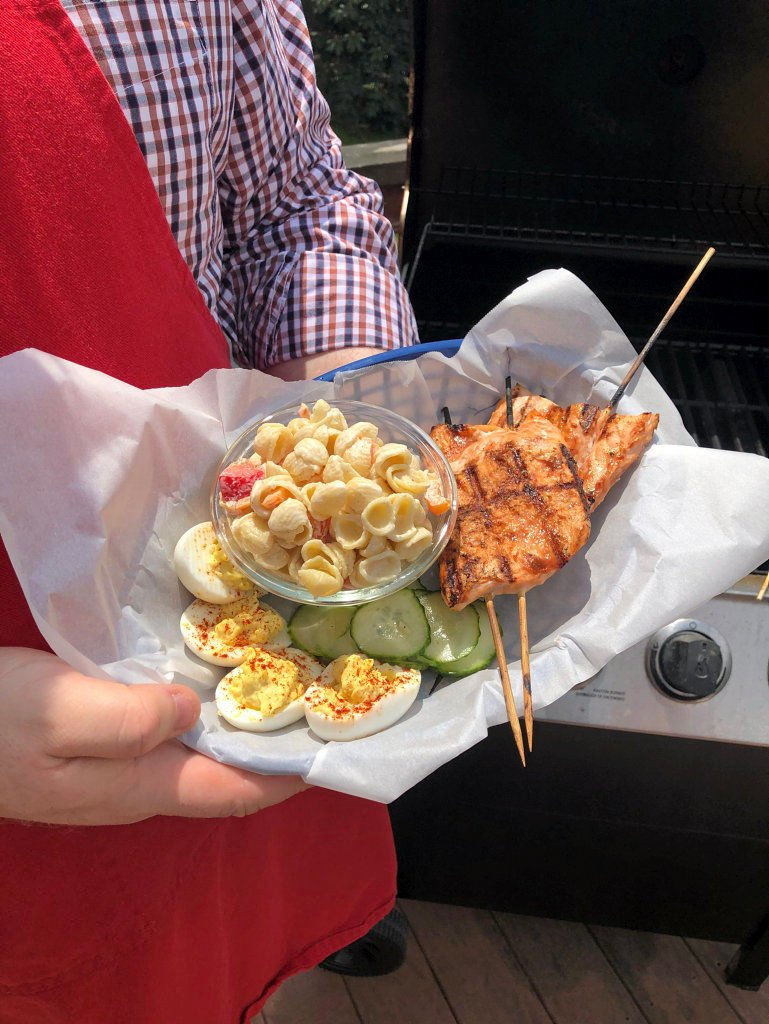 Grab your grill for BBQ Salmon with Macaroni Salad side