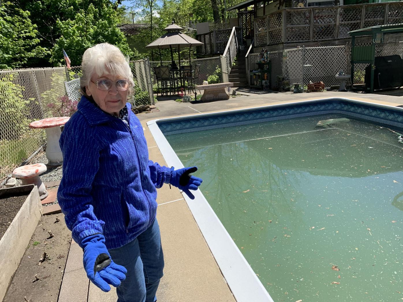 North Scranton creek spills over, floods backyard pool
