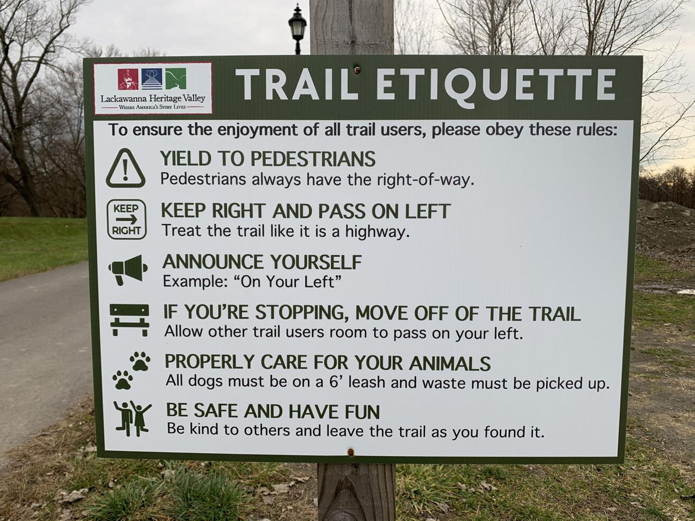 Keep right: Lackawanna River Heritage Trail etiquette delineated