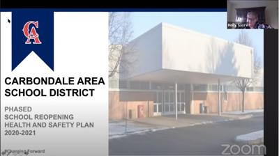 Carbondale Area Superintendent Holly Sayre presents a health and safety plan for the district during a virtual meeting Monday.