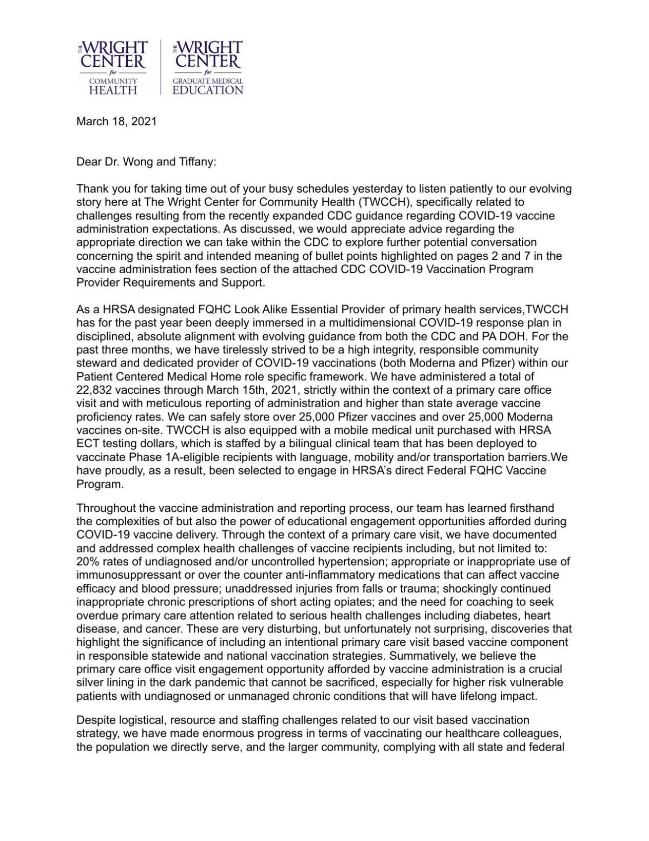 Letter to CDC