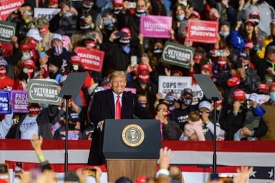 President Donald Trump arrives for a rally at the John Murtha Johnstown-Cambria County Airport on Tuesday, Oct. 13, 2020, in Johnstown, Pennsylvania.