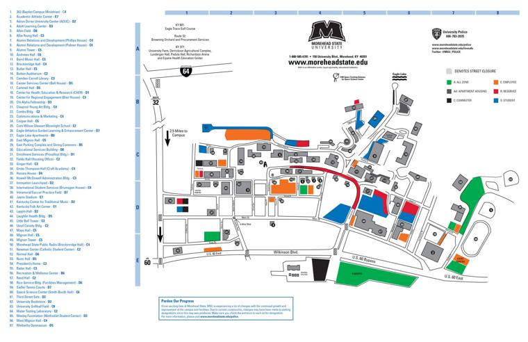 Morehead State's updated parking map