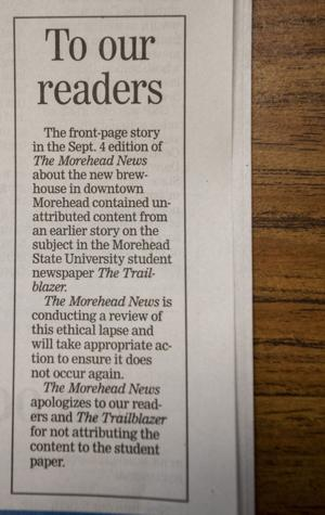 Morehead News Article
