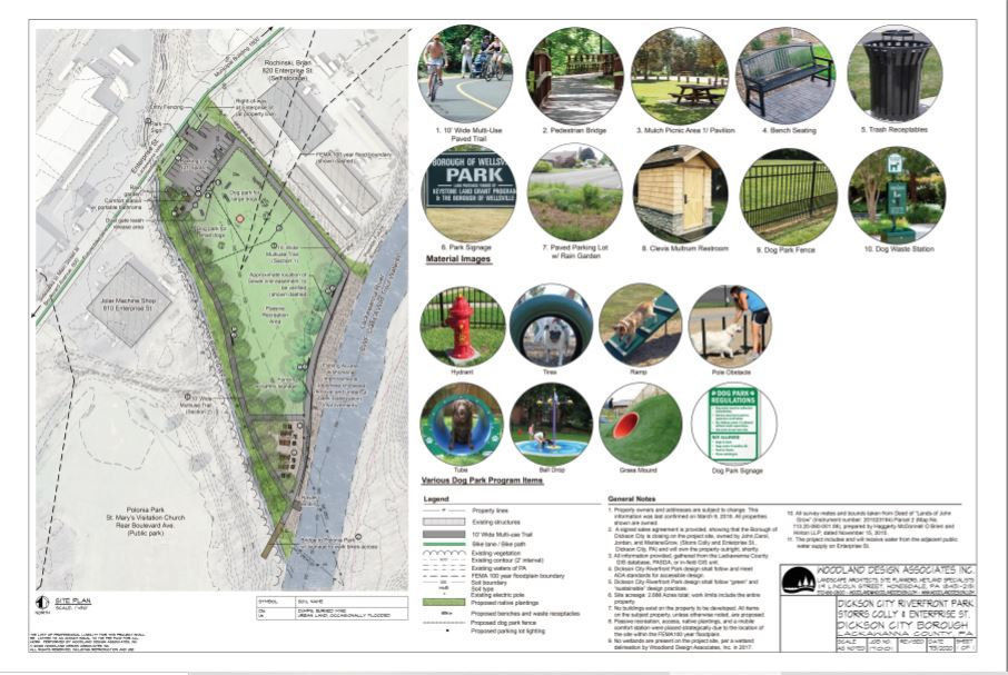 The site plan for Riverfront Park in Dickson City. PHOTO SUBMITTED BY JEFFREY KOVALESKI