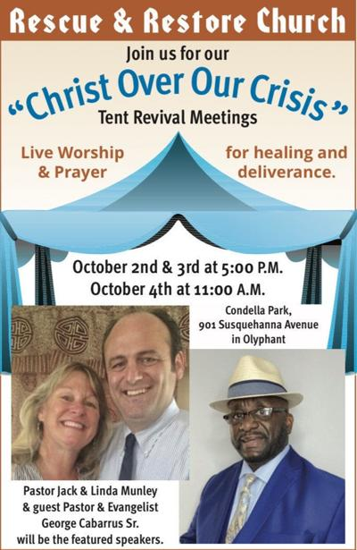 Rescue & Restore Church's flyer for their tent revival this weekend