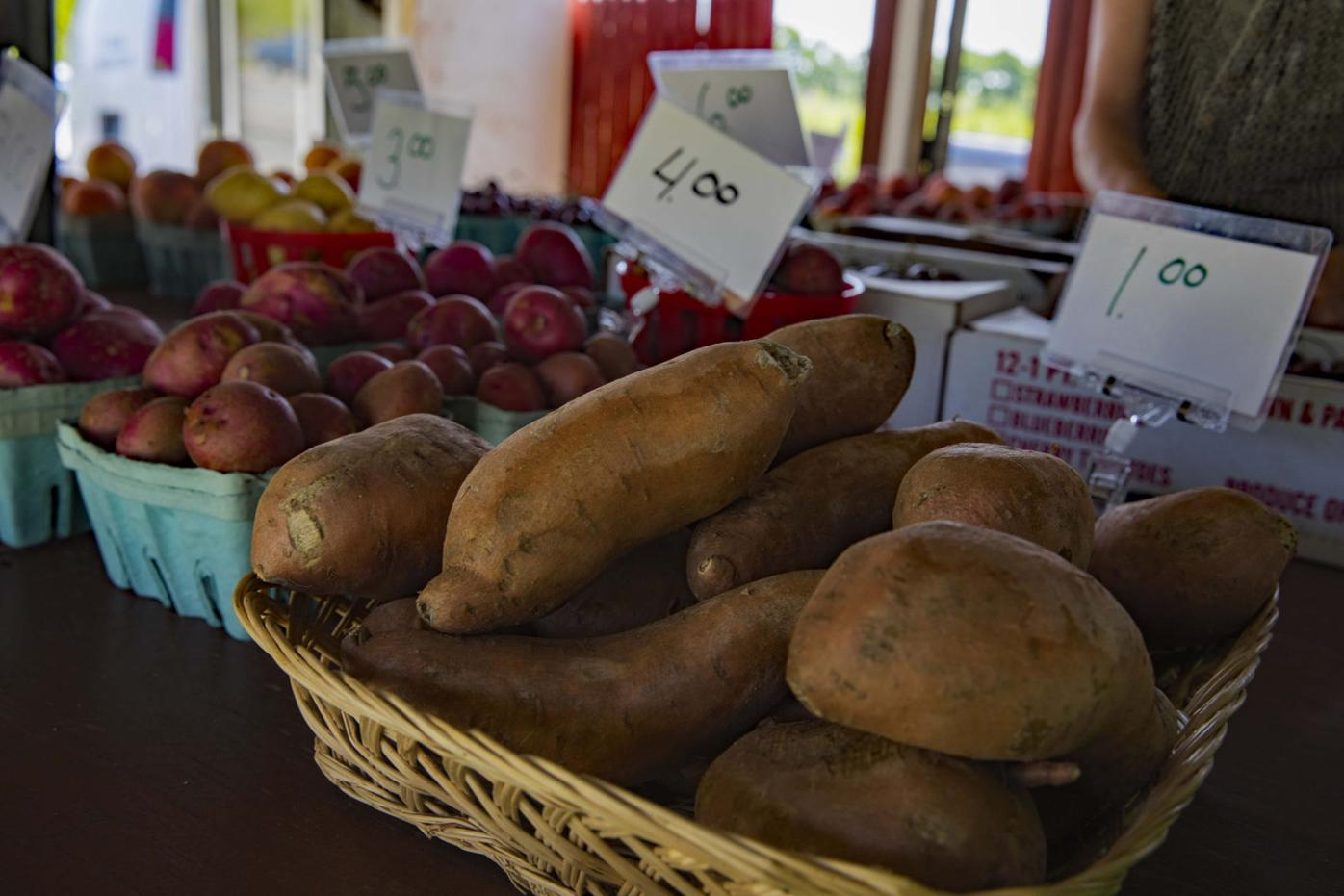 Root vegetables are among the offerings at the farm stand.