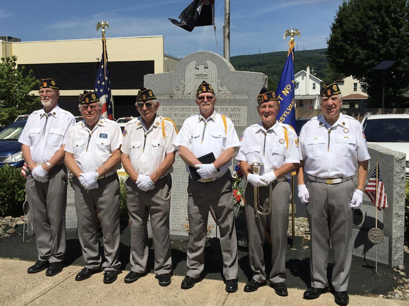 The Olyphant American Legion Post 327, attended the rededication of the Hometown Banner and officiated at the Funeral Detail for the late Veteran John Komar, who died in 1987. From left, Vince Narcoonis, Paul Yakamovitch Steve Gaglio, Ed London, Steve Grassetti and Peter Puhalla.