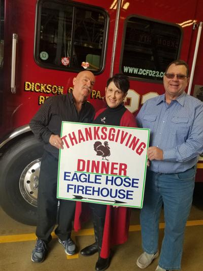 From left, Brian Richards; Judie Senkow Richards R.N., and Dr. Donald Kazmerski, who organize the yearly Free Community Thanksgiving Dinner at Eagle Hose Company Fire Hall.