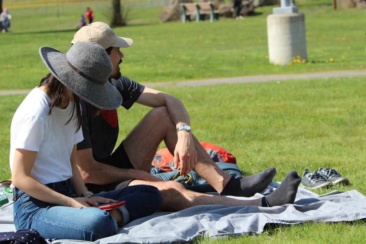 Leanne Tobler (left) and Aaron Tyburski picnic at Carbondale Area High School.