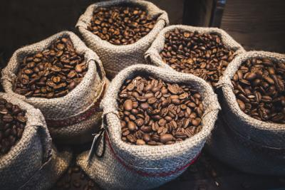 Coffee beans in bags.