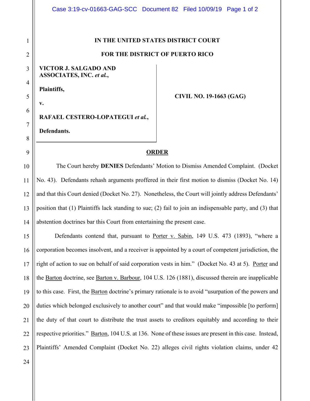 Order Denying Motion to Dismiss