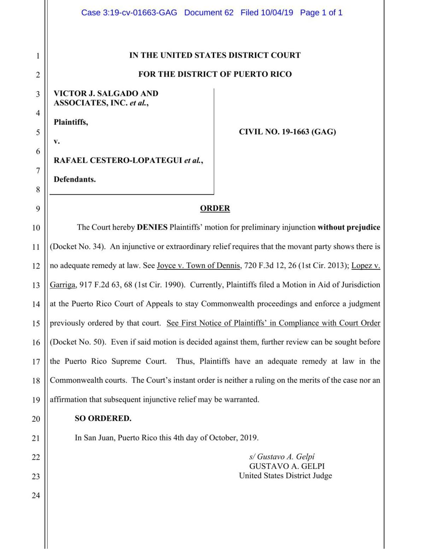 Order Denying Injuction