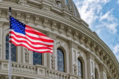 Washington DC Capitol view on cloudy sky