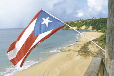 Puerto Rico flag, beach