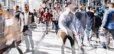 Crowd of people walking