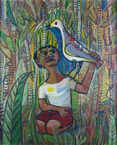 Morris Berd, Boy with a Bird, ca. 1947, oil on canvas. Gift of Harold Ka....jpg