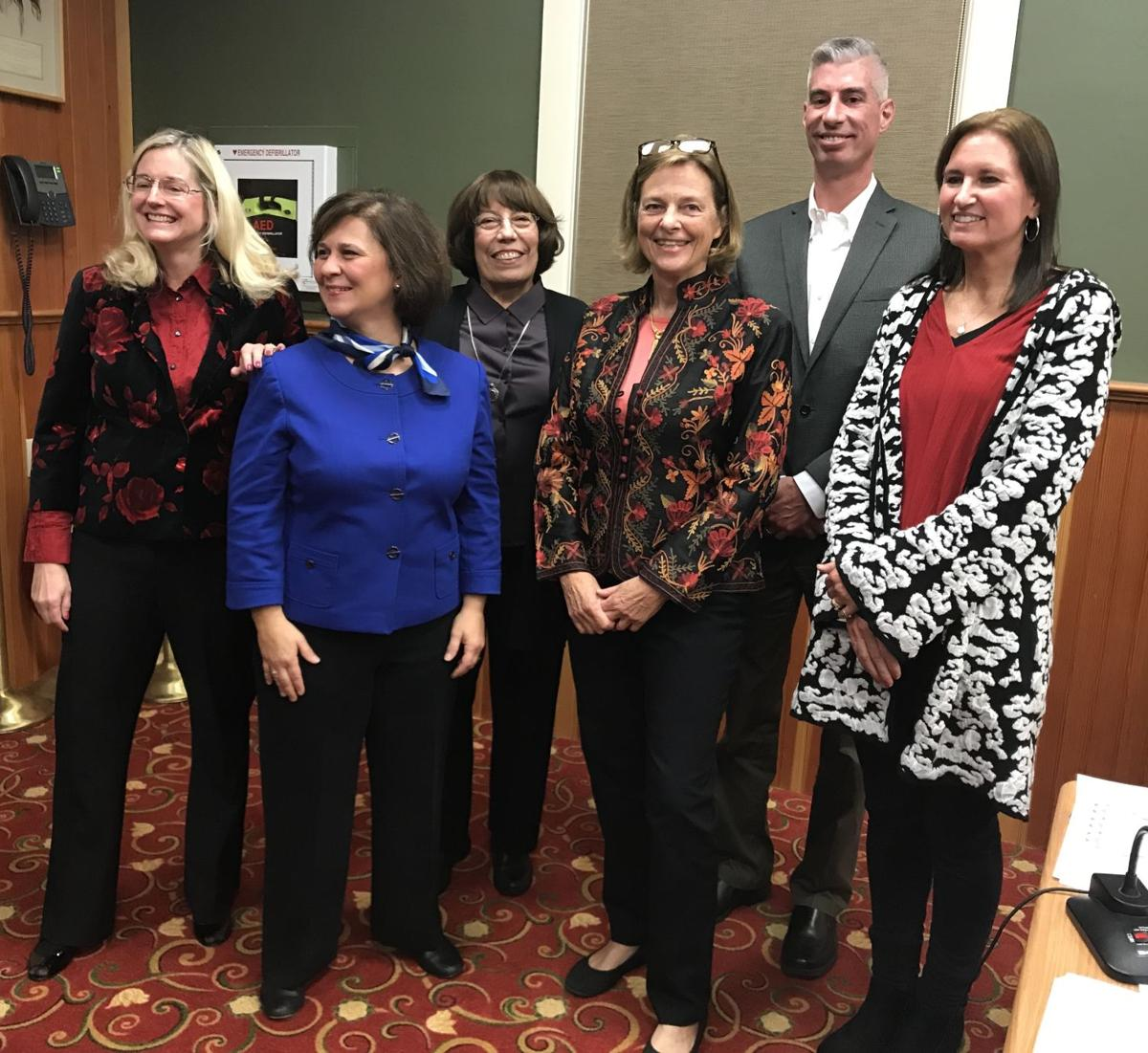 Members of the new Charlestown Town Council, following their swearing in. From left, Julie Carroccia, R.I. Secretary of State Nellie Gorbea, Bonita Van Slyke, council President Virginia Lee, David Wilkinson and council Vice President Deborah Carney. Cynthia Drummond, The Westerly Sun
