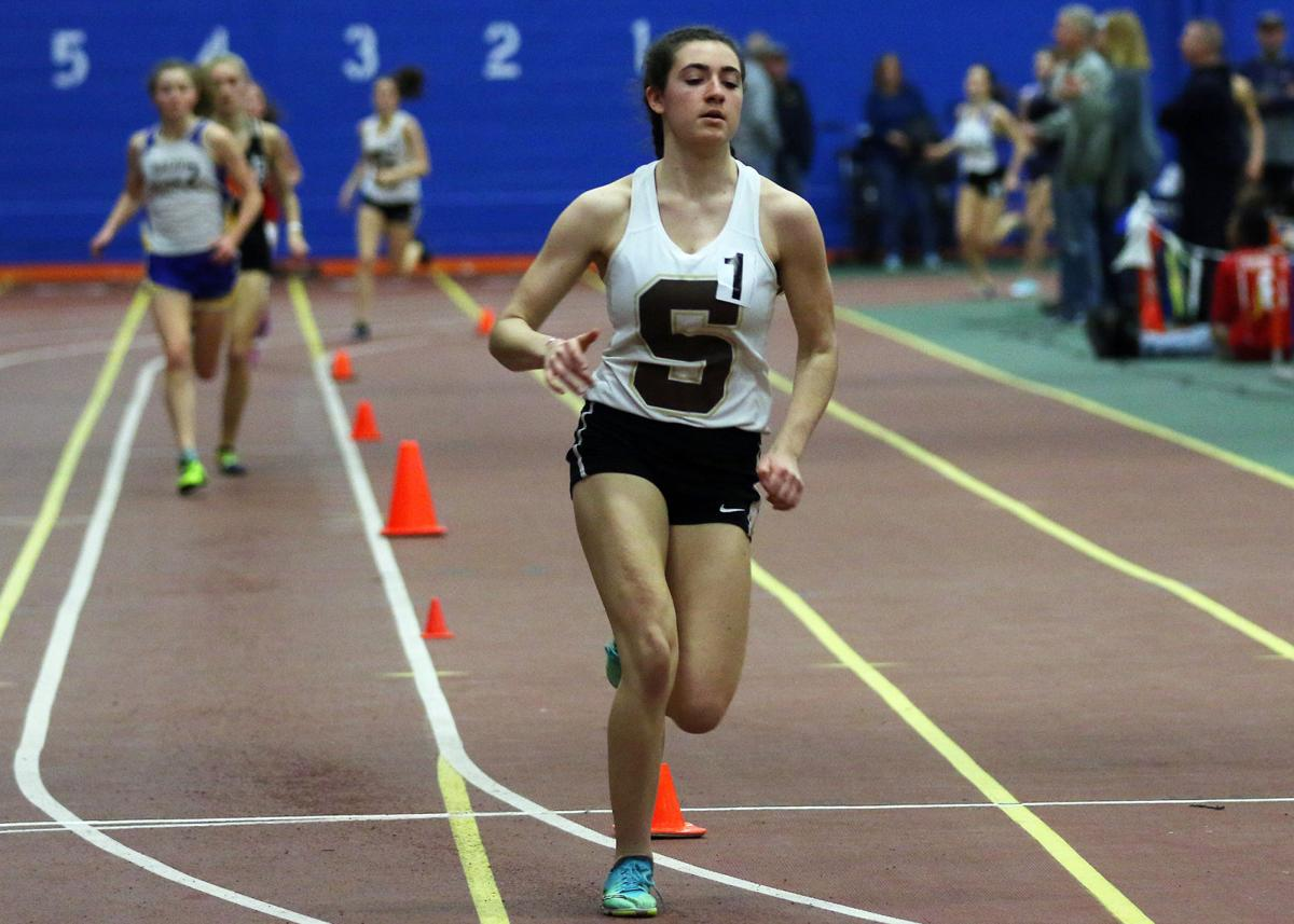 Lindsey Orr competing in the girl's 1600 meter run for Stonington at the ECC indoor track and field event held Saturday, February 2nd, 2019 at the US Coast Guard Academy's Roland Hall. | Jackie L. Turner, Special to The Sun.
