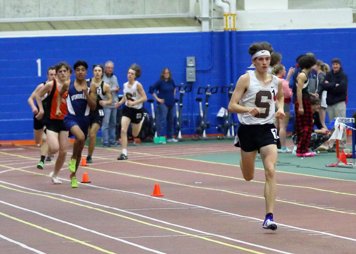 Stonington's Rhys Hammond competing in the boy's 1000 meter run Stonington at the ECC indoor track and field event held Saturday, February 2nd, 2019 at the US Coast Guard Academy's Roland Hall. | Jackie L. Turner, Special to The Sun.