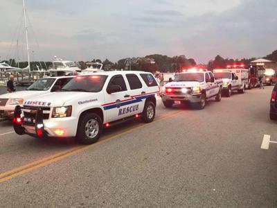 standing Charlestown Ambulance vehicles