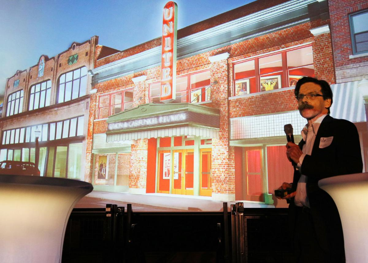 Architect Lewis Jacobson discusses the planned reconstruction of the United Theatre's original marquee, destroyed in the Hurricane of 1938. The presentation was part of the United Theatre Business Expo, sponsored by the Ocean Community Chamber of Commerce and held on location Tuesday evening, January 29th, 2019. | Jackie Turner, Special to The Sun.