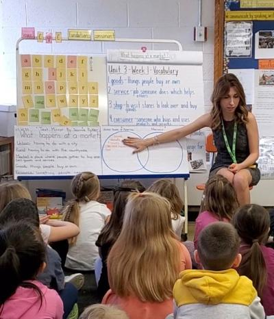 Nina Casacalenda teaches students at Hopkins Hill Elementary School before classes were transitioned to remote learning. (Photo courtesy of Nina Casacalenda)
