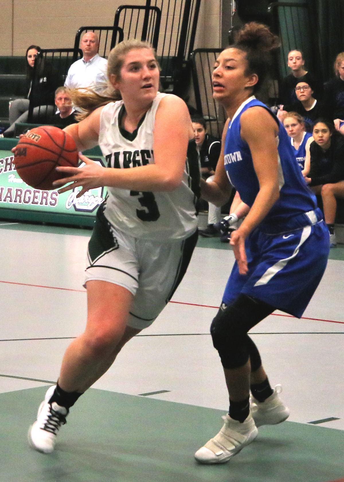 Kate Powers (3) drives around Middletown's Isabella Wiggins (1) in the Chariho vs Middletown girls' varsity basketball game played Tuesday evening, January 21, 2020, at Chariho High School, Wood River Jct., RI. | Jackie L. Turner, Special to The Sun.