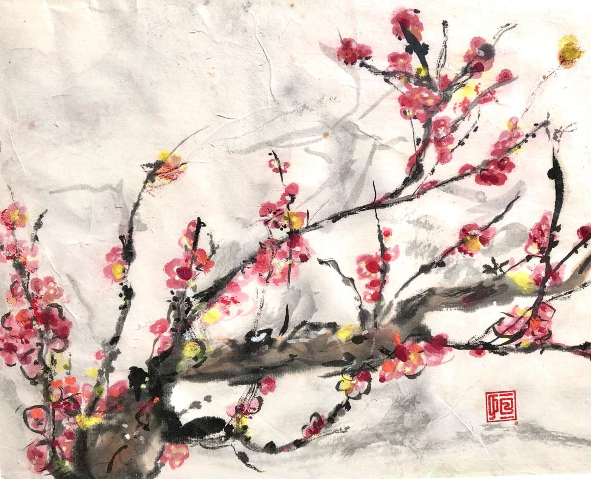 Catherine Mansell, Spring Plum Blossoms, Sumi-e Painting, Photo courtesy Artists' Cooperative Gallery of Westerly