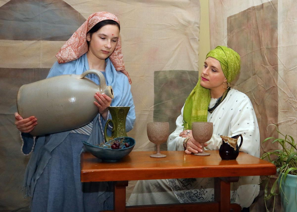 "Lighthouse Community Baptist Church members gathered on Monday evening, April 15th, 2019, to rehearse for ""A Light in the Darkness"", an Easter play scheduled to run on Good Friday, April 19th. Practicing their roles are Zoe Cumbee as ""Servant Girl"" (left) and her sister Molly Cumbee as ""Jerusha"" (right). Also on hand for the rehearsal was Trey Jones as ""Nathan"". 