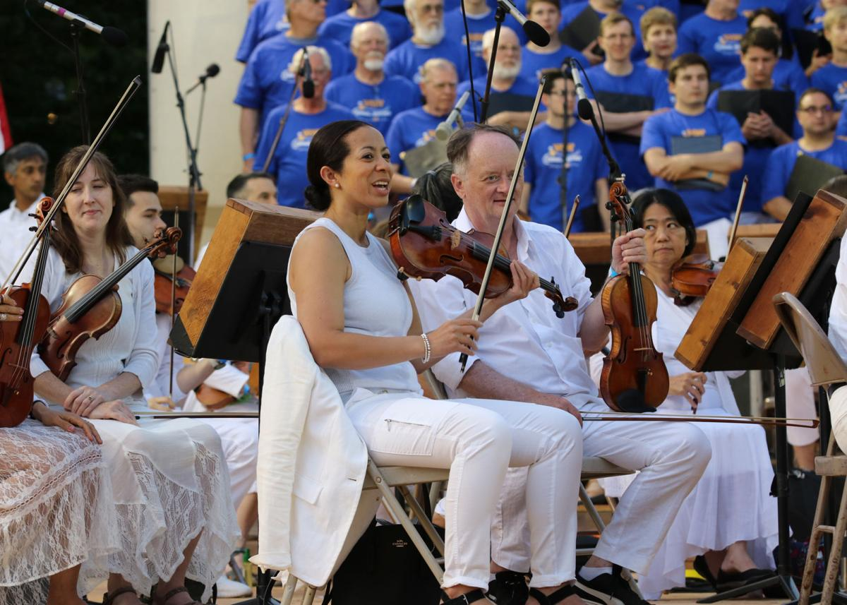 The string section of The Pops Festival Orchestra