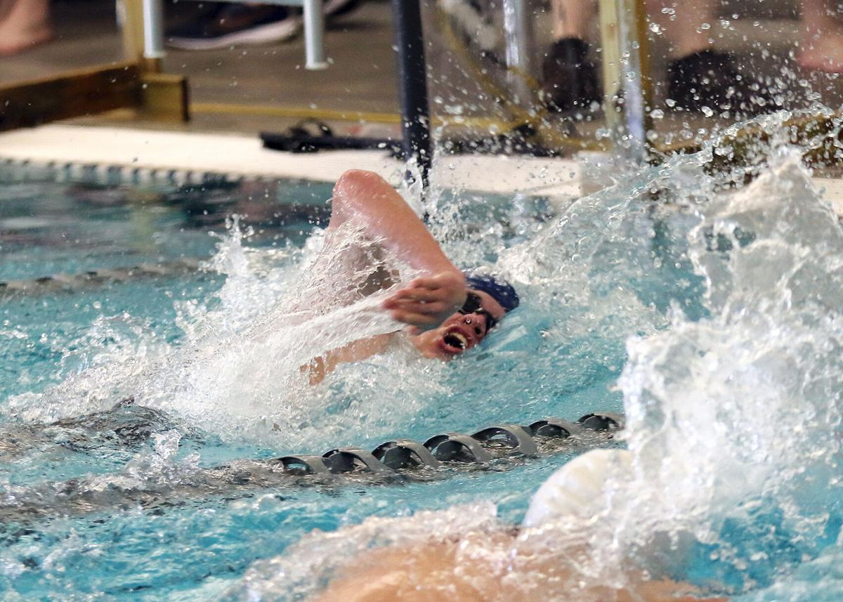 Westerly's Luke Donato swims the 100 meter freestyle event during the Westerly Bulldogs vs North Providence Cougars boys RIIL DIV-II Swimming Finals held Saturday afternoon, March 6, 2021, at the PODs Swimming Aquatic Center in East Providence, RI.   Jackie L. Turner, Special to The Sun.