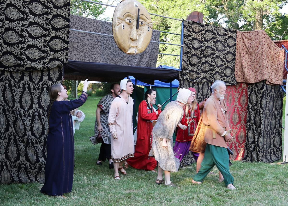 """Cast members of Flock Theater's production of """"The Comedy of Errors"""" take to the stage Thursday evening, June 27th, 2019, in the theater's debut performance in Westerly's Wilcox Park. From left, Aimee Blanchette as Adriana, Eric Michaelian as Antipholus of Ephesus, Brandon Tyler as Dromio of Syracuse, Danielle McGuire as Luciana, Avery Moody as Dromio of Ephesus, Phi Kasem-Beg as Luce/Pinch, and Malcolm Cameron as Aegeon. 